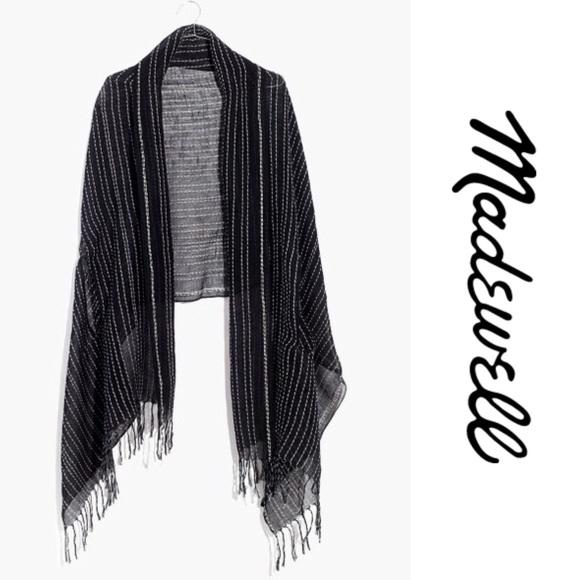 8a38b0fb7cb Madewell Gauze Stripe Cape Scarf - Black